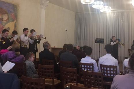 Концерт трубачей в Охтинском центре Красногвардейского района